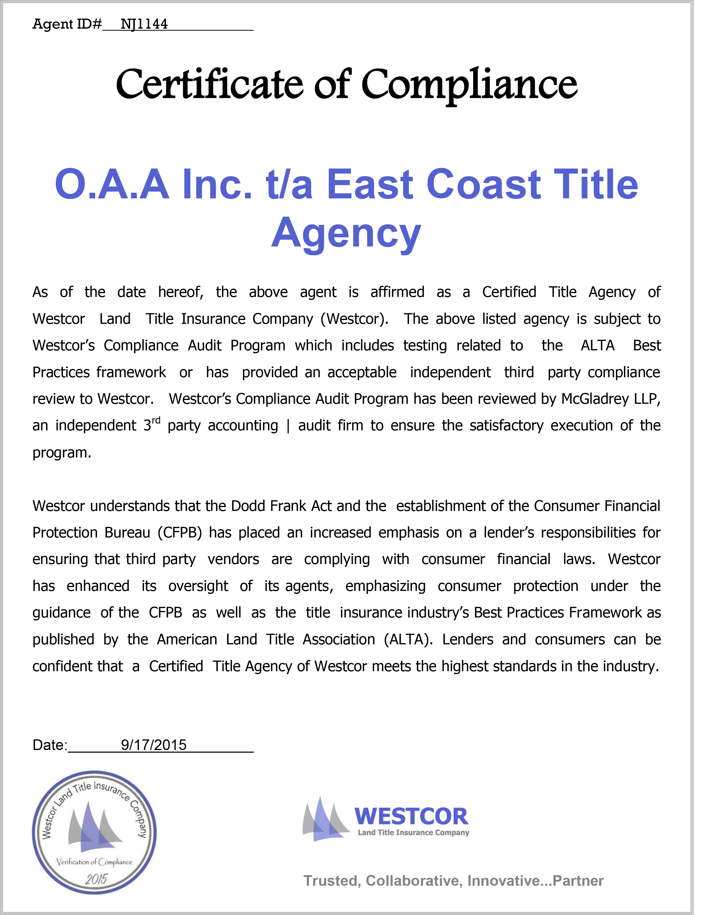 Certificate of compliance for east coast title east coast title westcor cert thecheapjerseys Image collections